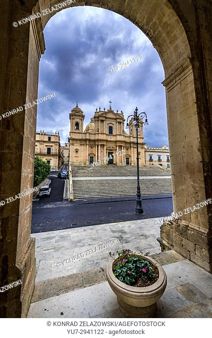 Noto Cathedral, dedicated to Saint Nicholas of Myra in Noto town, Province of Syracuse on Sicily Island in Italy. View from Ducezio Palace