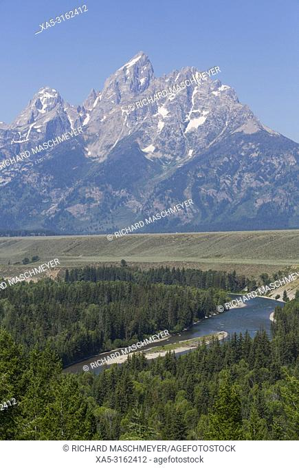 Snake River Overlook, Teton Range, Grand Teton National Park, Wyoming, USA