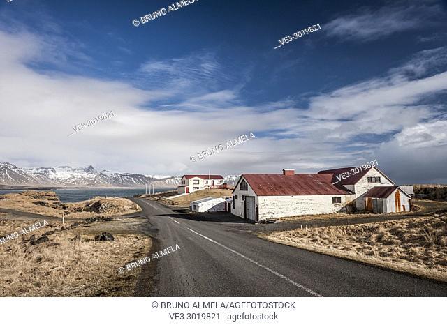 Fisherman's houses in Arnarstapi, Snæfellsnes peninsula (region of Vesturland, Iceland)