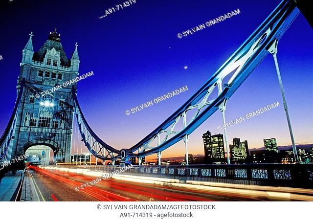 Tower Bridge at night, London. England, UK