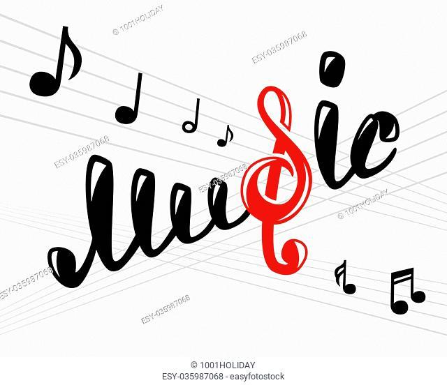 Music logo on white, vector illustration for Your design, eps10