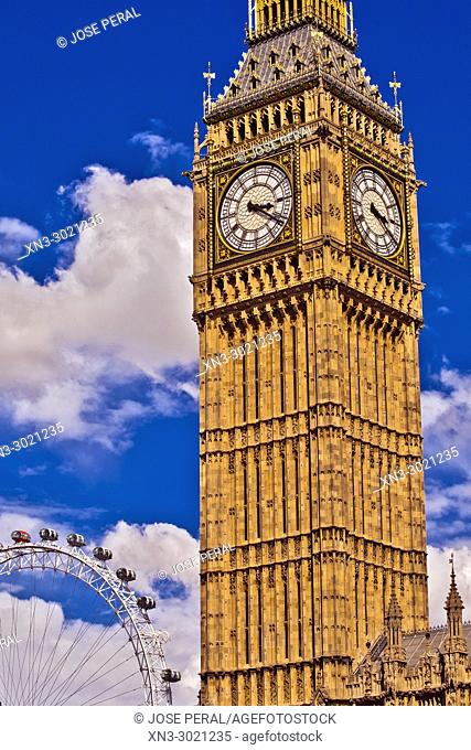 London Eye, Elizabeth Tower, Big Ben, Clock tower, Houses of Parliament, Palace of Westminster, City of Westminster, London, England, UK, United Kingdom, Europe