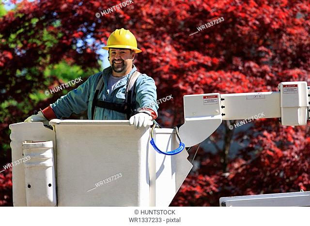 Power engineer in lift bucket wearing a safety harness and insulated gloves, Braintree, Massachusetts, USA