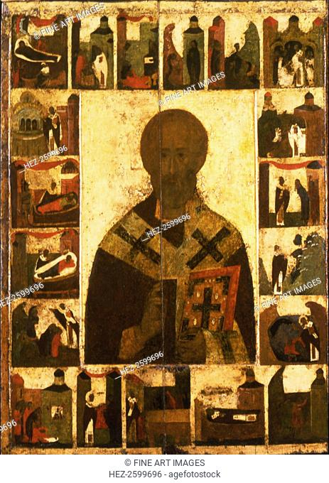 Saint Nicholas with scenes from his life, 14th century. Found in the collection of the State Tretyakov Gallery, Moscow