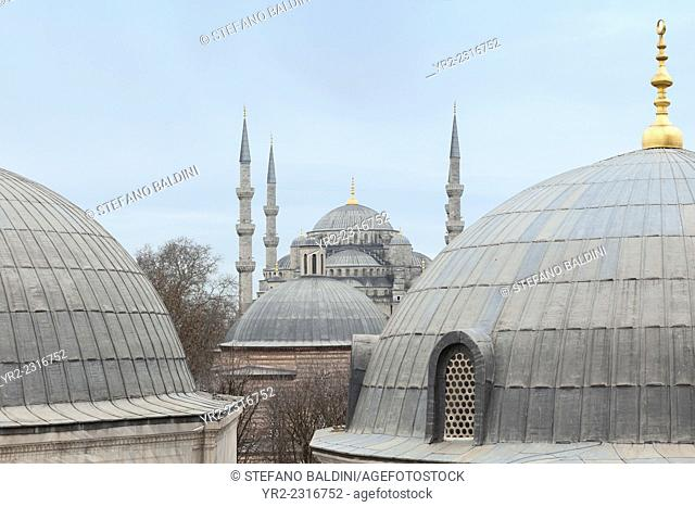 The blue mosque as seen from Aya Sofya rooftop domes, Istanbul, Turkey