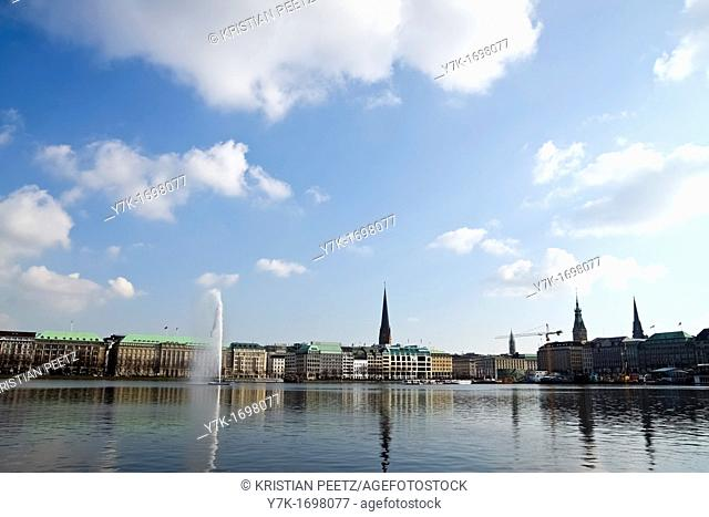 View of the Lake Alster in Hamburg, Germany