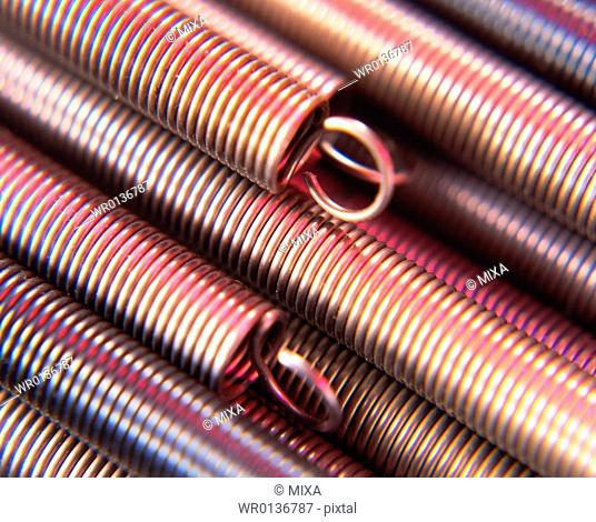 Close up of tightly wound metallic springs