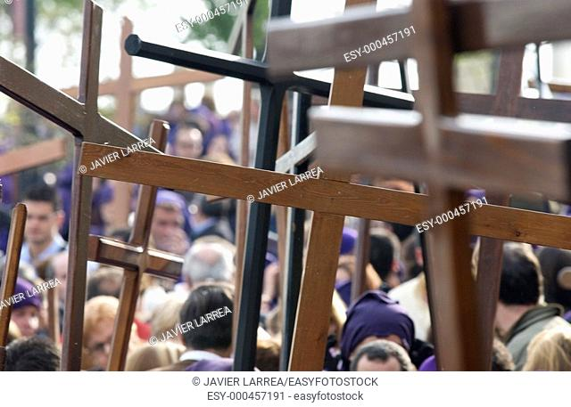 Penitents at procession during Holy Week. Osuna, Sevilla province. Andalusia. Spain