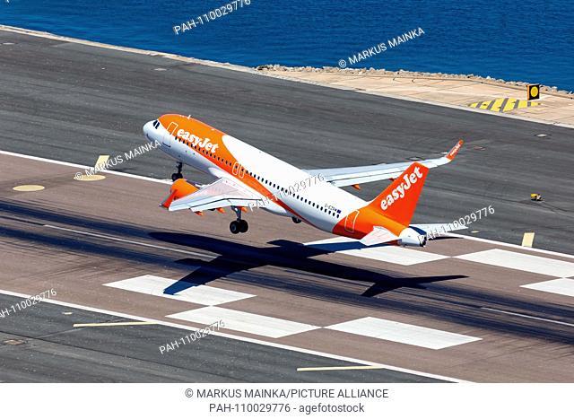 Gibraltar - July 29, 2018: Easyjet Airbus A320 airplane at Gibraltar airport. | usage worldwide. - Gibraltar/