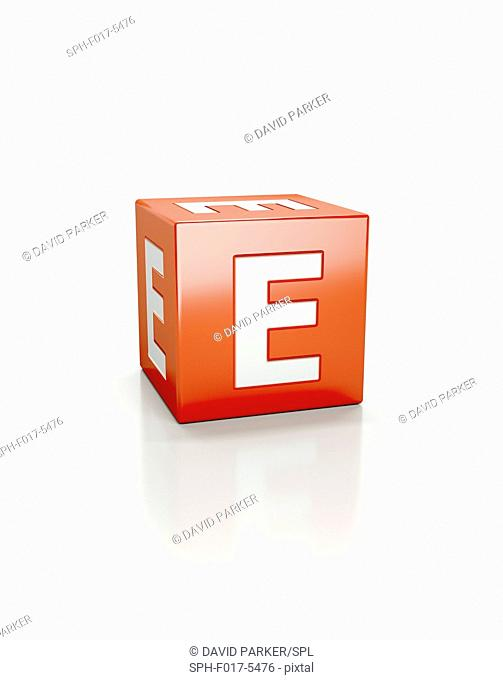 Red cube with letter E