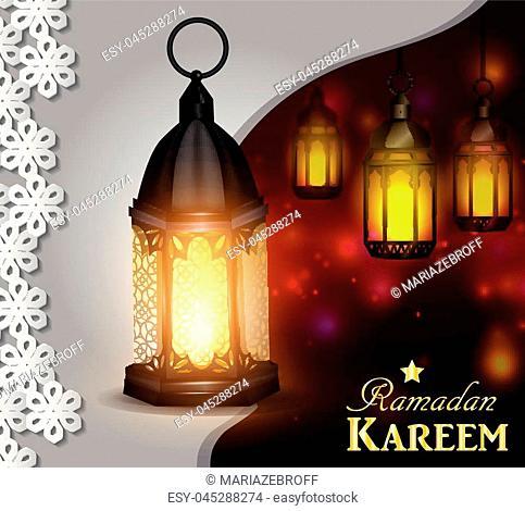 Vector illustration magic glass lights on dark background in paper window with arabic swirls