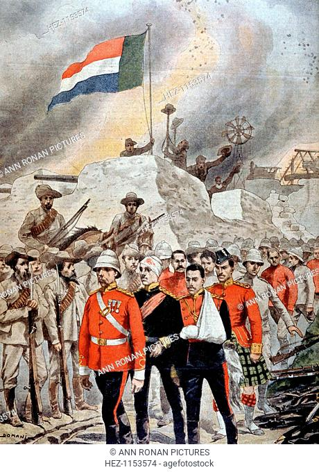 Fall of the British garrison at Jamestown, South Africa, Boer War, 1901. British soldiers, some of them wounded, marching into imprisonment after surrendering...