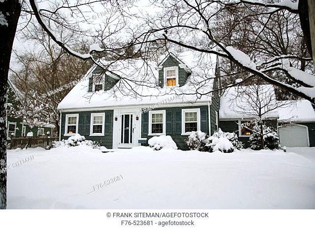 Suburban house after snowstorm. Boston. Massachusetts. USA