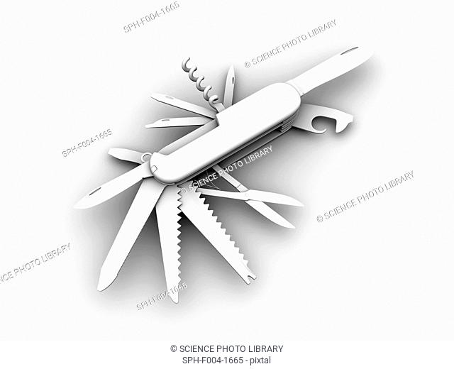 Computer artwork of a Swiss army knife/penknife. Various tools folded out of a penknife