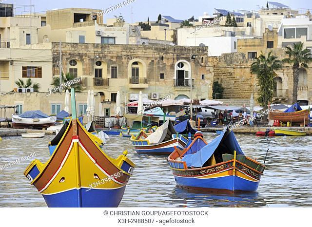 harbour of Marsaxlokk, Malta, Mediterranean Sea, Southern Europe