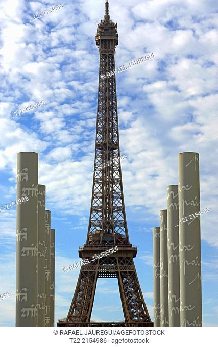 Paris (France). The Eiffel Tower from the Champ de Mars in Paris city