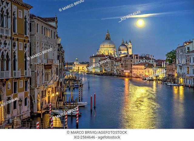 Grand Canal and Santa Maria della Salute Basilica. Venice Italy