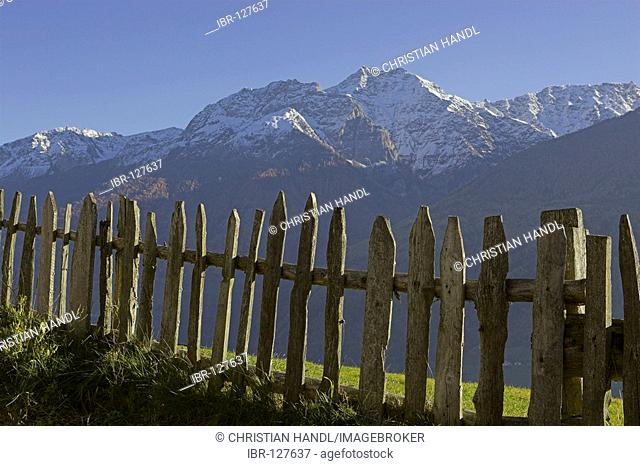 Wooden fence and mountains of the Ortler mountain range, Tanas, Vinschgau, South Tyrol, Italy
