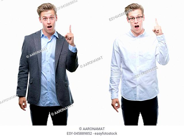 Young handsome blond business man wearing different outfits pointing finger up with successful idea. Exited and happy. Number one
