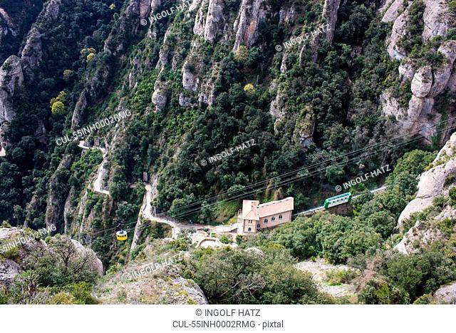 Cable Car on the way to Monastery Santa Maria de Montserrat, Catalonia, Spain