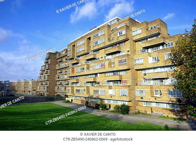 Dawson Heights Council houses, East Dulwich, Borough of Southwark, London. UK. The estate was completed in 1972 and was meant to be inspired by a great ship or...
