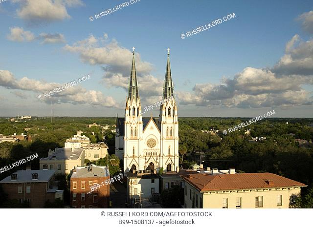 Cathedral Of Saint John The Baptist Skyline Savannah Georgia USA
