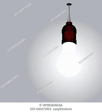 Included light bulb on the ceiling. Installation. Vector illustration
