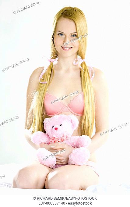 woman wearing underwear with teddy bear