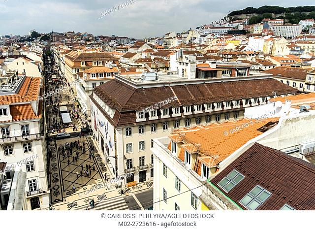 Panoramic of Alfama district in Lisbon Portugal
