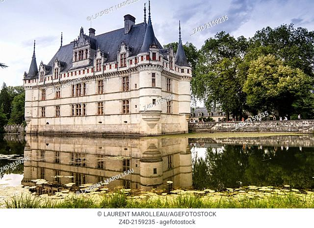 Castle of Azay le Rideau, Built in the 16th century, on an island in the Indre River, is a magnificent example of French Renaissance architecture