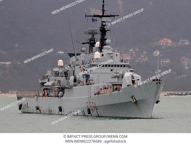 Military ships enters in the Bulgarian Black sea port of Varna, some 450 kms (280 miles) north-east of the capital Sofia, Saturday, March, 07, 2015