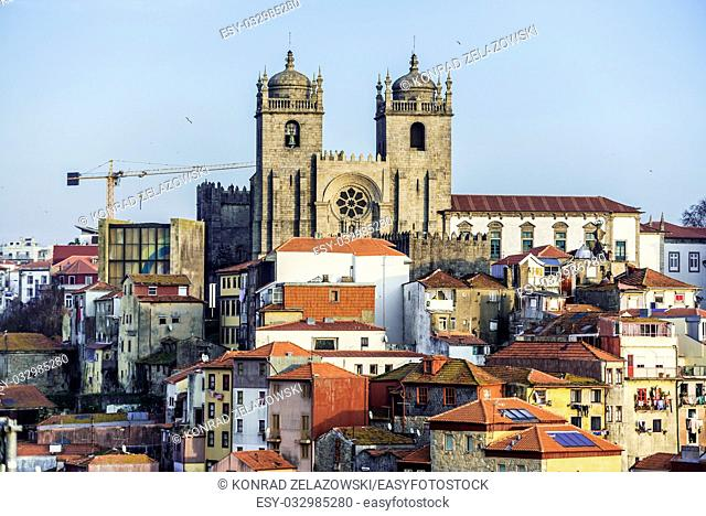 Aerial view with Se Cathedral with Chapter House and Convent in Porto city on Iberian Peninsula, second largest city in Portugal