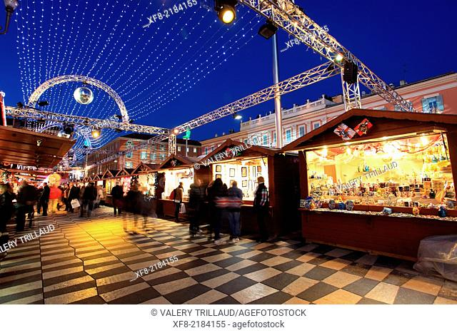 Nice, Christmas decoration, Place Massena, Alpes-Maritimes, French Riviera, Côte d'Azur, Provence-Alpes-Côte d'Azur, France