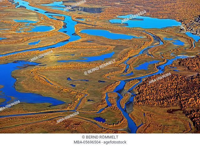Europe, Sweden, Lapland, province of Norrbotten, Sarek national park, view at the Rapadalen, river delta