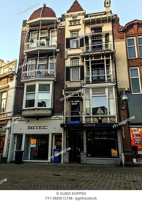 Heuvelstraat, Tilburg, Netherlands. Empty and abandoned shops in Tilburg's main-street illustrate results of the economic crisis in retail business