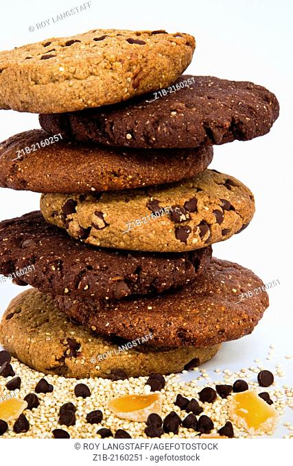 A stack of chocolate and ginger gluten-free cookies
