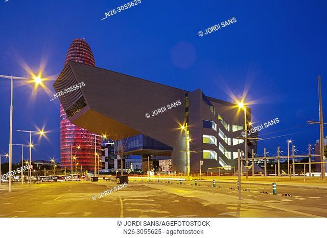 Plaça de les Glories, Disseny Hub, Torre Agbar, Barcelona, Catalonia, Spain