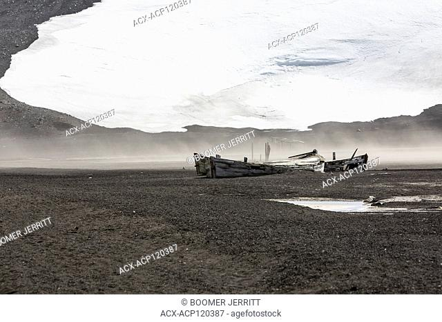 Relics of the past including these water boats used in the whaling industry lie strewn about the beach at Whaler's Bay on Deception Island