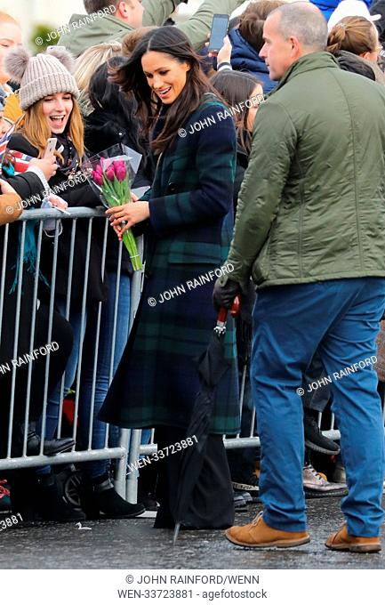 Prince Harry and Meghan Markle visit Edinburgh Castle on what is the couple's first visit to the Scottish capital together Featuring: Meghan Markle Where:...