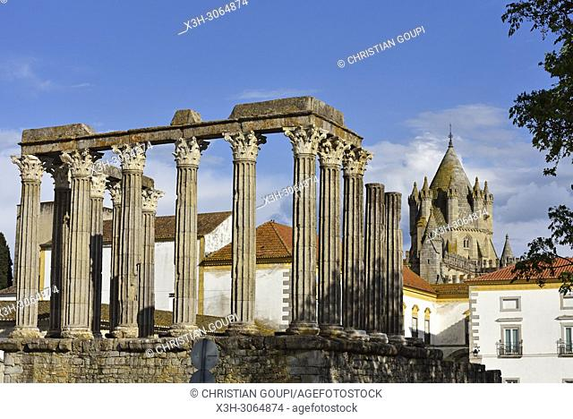 Roman Temple of Evora, Alentejo region, Portugal, southwertern Europe