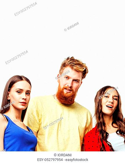 company of hipster guys, bearded red hair boy and girls students having fun together friends, diverse fashion style, lifestyle people concept isolated on white...
