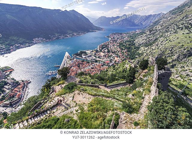 Aerial view from ancient walls above Kotor coastal city, located in Bay of Kotor of Adriatic Sea, Montenegro