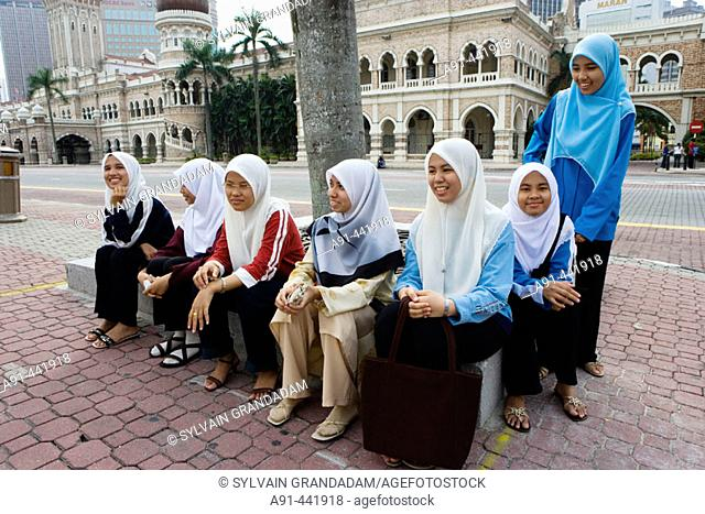 Muslim girls on Merdeka Square, Kuala Lumpur. Malaysia