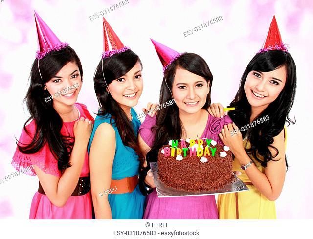 young beautiful girls celebrate birthday with chocolate cake