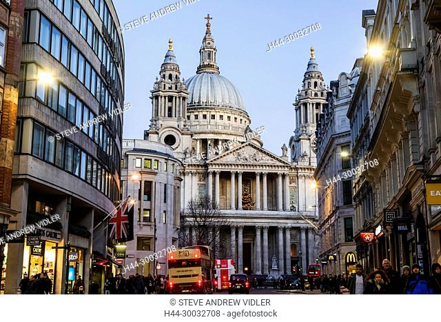 England, London, City of London, Ludgate Hill and St.Pauls Cathedral