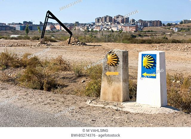 old and new signs of Way of St. James, Spain, Leon, Kastilien, Campo Allegre