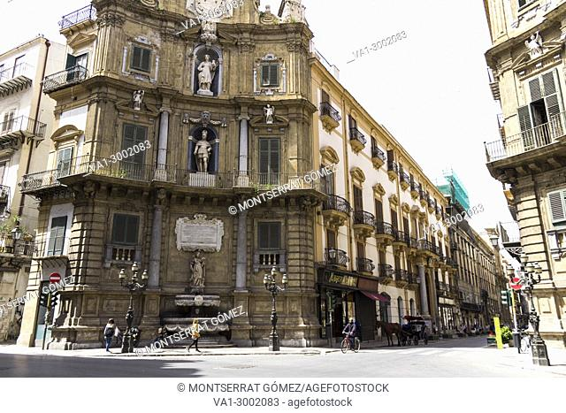 Quattro Canti is an octagonal baroque crossbreed. Palermo, Sicily. Italy