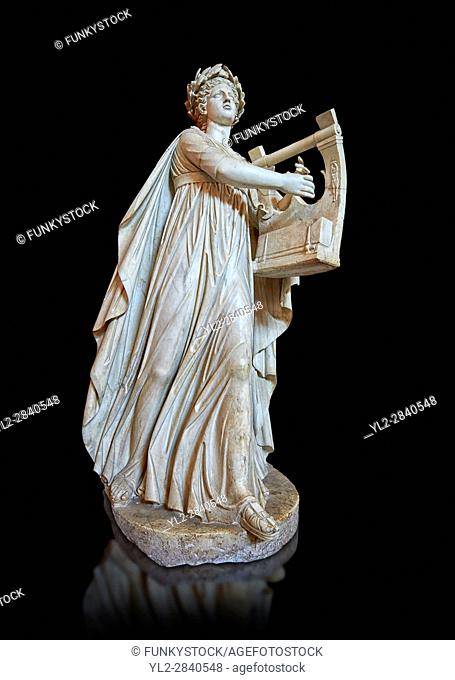 Roman ststue of with a lyre, copied from an earlier 4th cebtury BC Hellenistic statue, from a group of Muses found in Villa de Cassius at Tivoli, inv 310