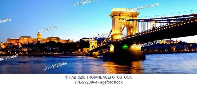 Szechenyi Chain Bridge with Royal Castle, Budapest, Hungary