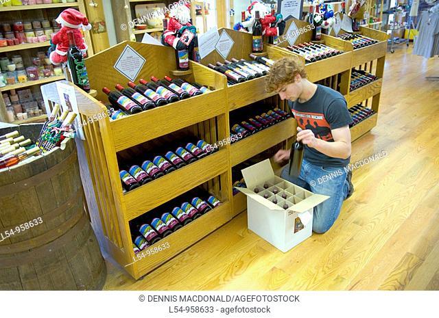 Wine Display in Finger Lakes Region Winery New York